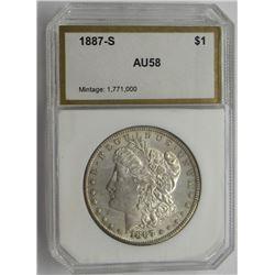 1887-S PCI AU58 MORGAN SILVER DOLLAR