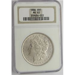 1886-P NGC MS63 MORGAN SILVER DOLLAR
