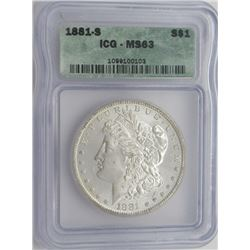 1881-S ICG MS63 MORGAN SILVER DOLLAR