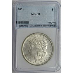 1881-P NNC MS63 MORGAN SILVER DOLLAR