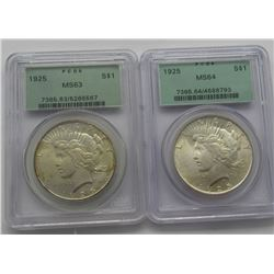 2- NGC PEACE DOLLARS- 1922 MS63,