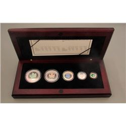 2003 SILVER MAPLE LEAF HOLOGRAM SET in WOOD BOX