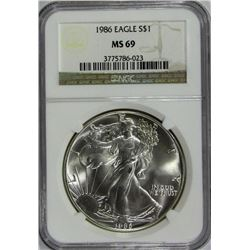 1986 AMERICAN SILVER EAGLE NGC MS 69