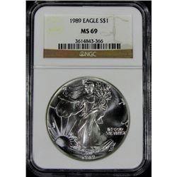 1989 AMERICAN SILVER EAGLE NGC MS 69