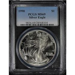 1990 AMERICAN SILVER EAGLE PCGS MS 69