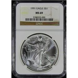 1991 AMERICAN SILVER EAGLE NGC MS 69