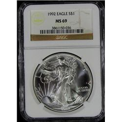 1992 AMERICAN SILVER EAGLE NGC MS 69