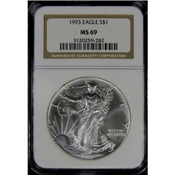 1993 AMERICAN SILVER EAGLE NGC MS 69
