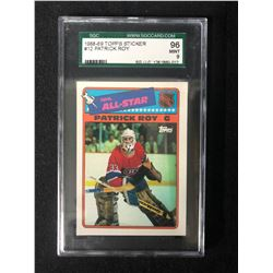 1988-89 TOPPS STICKER #12 PATRICK ROY (9 MINT) SGC GRADED