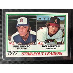 1977 Strikeout Leaders Nolan Ryan / Phil Niekro Topps Baseball Card #206