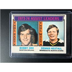 1974-75 O-Pee-Chee #2 Assists Leaders Bobby Orr/ Dennis Hextall