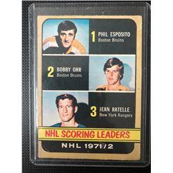1972-73 TOPPS SCORING LEADERS NHL 1971-72 HOCKEY CARD #61 HULL/ ESPOSITO