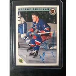 "George ""Red"" Sullivan New York Rangers 1992 Ultimate Original Six Auto Card #29"