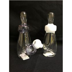 BABY BOTTLE II WHITE & PURPLE GLASS PIPE LOT