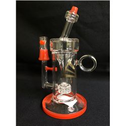 "EVOLUTION THUNDER 8"" RED GLASS BOWL W/ BOWL"