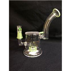 """EVOLUTION DIAMOND DUST 8"""" APPLE GREEN GLASS BONG W/ BOWL"""