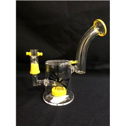 "EVOLUTION DIAMOND DUST 8"" YELLOW GLASS BONG W/ BOWL"