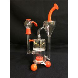 "EVOLUTION CYCLONE 6.25"" RED GLASS BONG W/ BOWL"