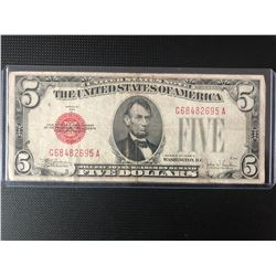1928 FIVE Dollar Red Seal United States