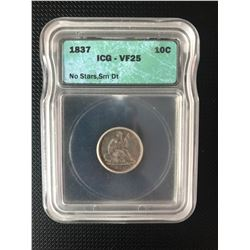 USA 1837 ONE DIME GRADED  VF25