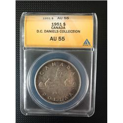 CANADIAN 1951 SILVER DOLLAR GRADED  AU 55