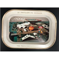 Vintage Expo 1967 Montreal World's Fair Collectible Metal Serving Tray Souvenir The Pavilion of Cana