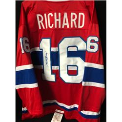 HENRI RICHARD SIGNED CANADIANS JERSEY WITH INSCRIBED 11 CUPS (JSA COA)