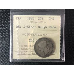 CANADIAN 1886  25 CENTS GRADED  G-4