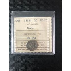 CANADIAN 1883H  5 CENTS GRADED VF-20