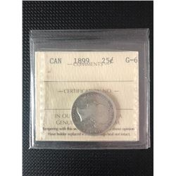 CANADIAN 1899   25 CENTS GRADED  G-6