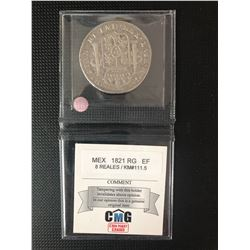 MEXICAN 1821   8 REALES GRADED  EF