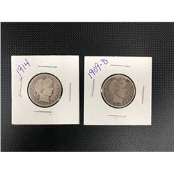 1909 + 1914  USA   25 CENTS      .900 SILVER