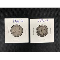2 X 1916  USA 25 CENTS .900 SILVER