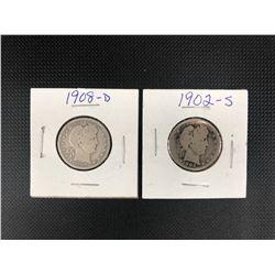 1902+1908 USA 25 CENTS .900 SILVER
