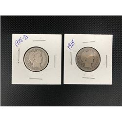 2 X 1915  USA 25 CENTS .900 SILVER