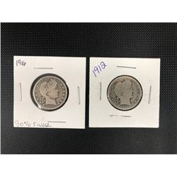 1912 + 1916 USA 25 CENTS .900 SILVER