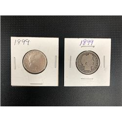 2 X 1899  USA 25 CENTS .900 SILVER