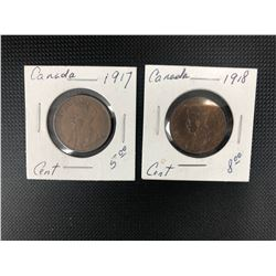1917 + 1918  CANADIAN 1 CENT