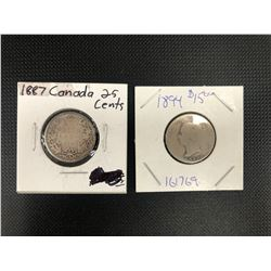 1887 + 1894  CANADIAN 25 CENTS .925 SILVER