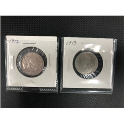 1912 + 1913   CANADIAN  25 CENTS   .925  SILVER
