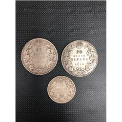 1917+1919+1920 CANADIAN 50 CENT AND 25 CENT PIECES .925 SILVER