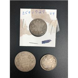 1910   50 CENTS AND 2  1929 25 CENTS CANADIAN    .925 SILVER