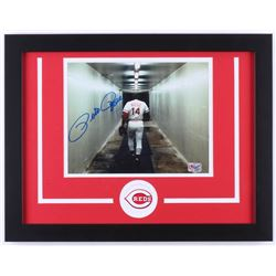Pete Rose Signed Reds 14x18 Custom Framed Photo Display (Pete Rose Hologram)