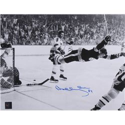 "Bobby Orr Signed Bruins ""The Flying Goal"" 11x14 Photo (Orr COA)"