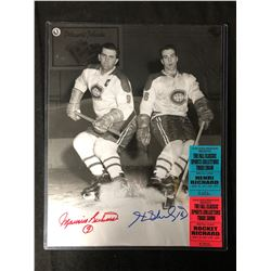 MAURICE & HENRI RICHARD SIGNED BLACK/ WHITE PHOTO W/ TRADE SHOW TICKETS