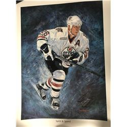 SPIRIT & SPEED TODD MARCHANT SIGNED OILERS ART PRINT