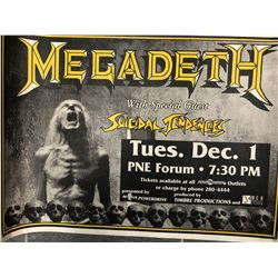 OFFICIAL MEGADETH W/ GUESTS SUICIDAL TENDENCIES CONCERT POSTER (VANCOUVER BC)
