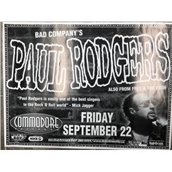 OFFICIAL PAUL RODGERS CONCERT POSTER (VANCOUVER BC)