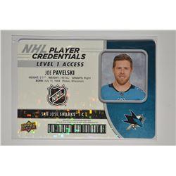 2018-19 Upper Deck MVP NHL Player Credentials Level 1 Access #NHLJP Joe Pavelski
