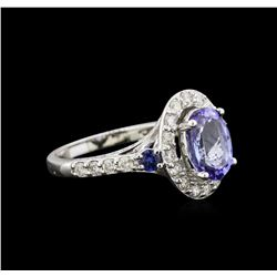 2.31 ctw Tanzanite, Sapphire and Diamond Ring - 14KT White Gold